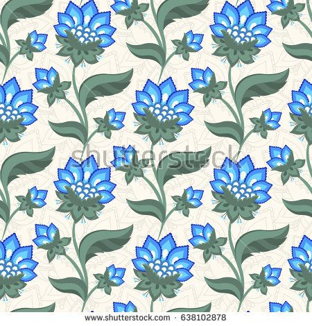 Floral seamless pattern, Jacobean embroidery style flowers. Colorful herbal background. Vector illustration. Jacobean floral, herbal collection, blue meadow flowers.