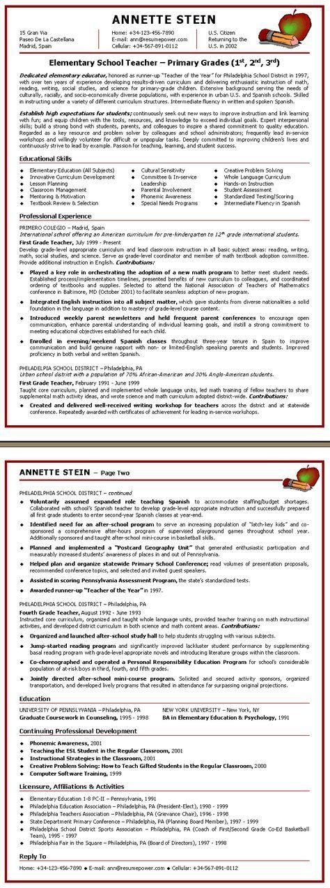 teacher resume | Elementary School Teacher Sample Resume