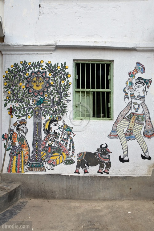Painting on Wall Madhubani Bihar India Asia