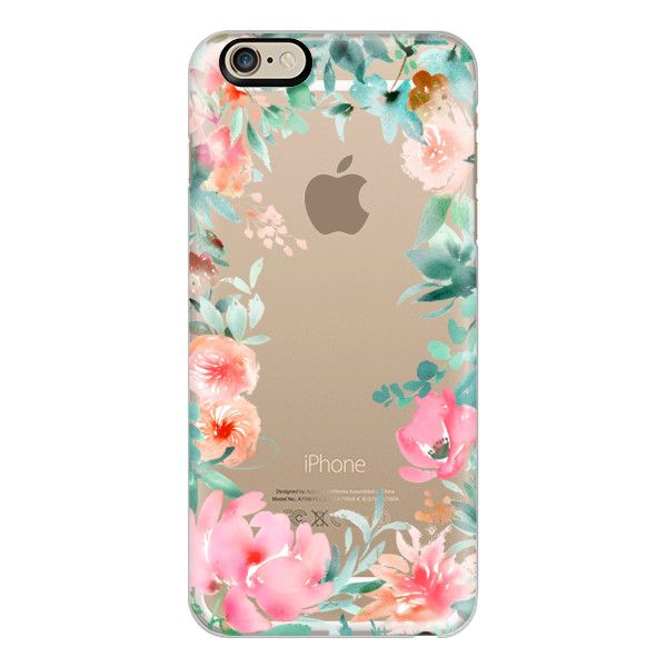 iPhone 6 Plus/6/5/5s/5c Case - Lush Floral Watercolor Transparent by... (€36) ❤ liked on Polyvore featuring iphone case