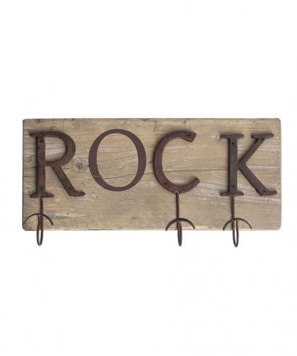 Appendiabiti Rock, con ganci in ferro brunito e legno di recupero