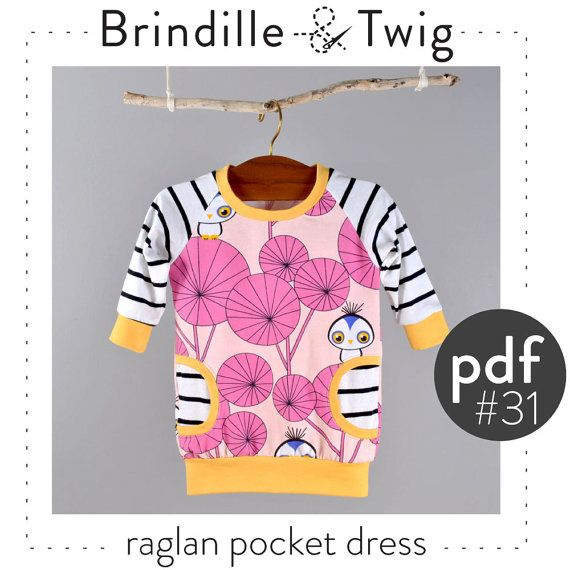 Baby dress pattern, raglan sleeve, pdf download, faux pockets, sizes 0-3M to 2-3T -Pattern 31