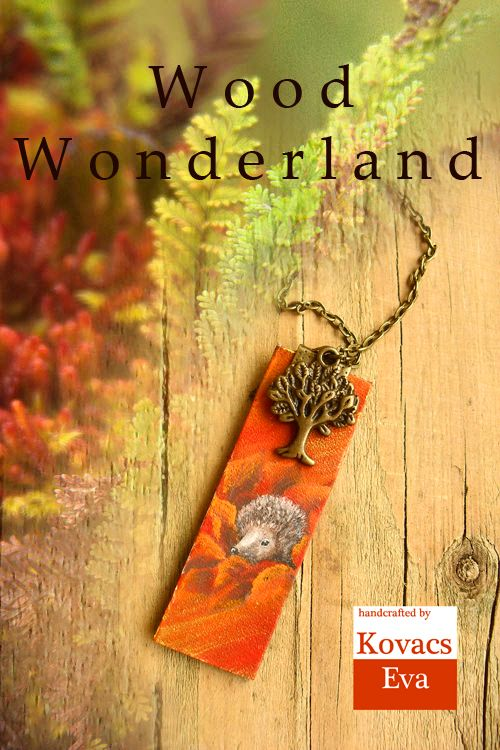 Kézzel festett sünis nyaklánc bőr medállal. Hand painted woodland,hedgehog necklace with leather pendant.