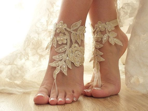 Champagne gold Beach wedding barefoot sandals lace by ByVIVIENN
