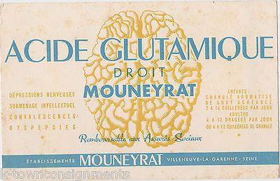 GLUTAMIC ACID SALT ANTIQUE FRENCH GRAPHIC ADVERTISING INK BLOTTER CARD