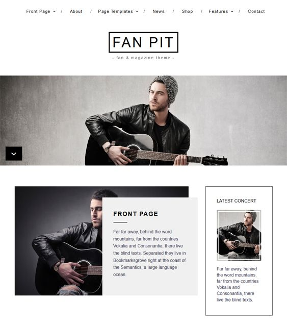This music WordPress theme features a minimal design, a responsive layout, WooCommerce and WPML compatibility, a slider, Google Fonts, a theme customizer, 2 custom menus, support for multiple post formats, and more.