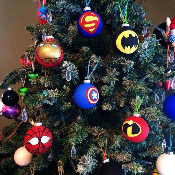 My hand painted glass superhero christmas ornaments - marvel, art, acrylic paint, Batman, Superman, the Incredibles, Ironman, Spiderman, Captain America