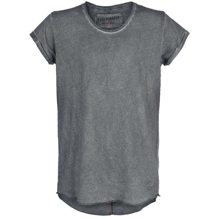 """Classica #TShirt uomo grigia """"Oversized Oil Wash"""" del brand #Trueprodigy con cuciture rosse a contrasto, maniche arrotolate parte frontale leggermnete più corta del retro ed etichetta con logo."""