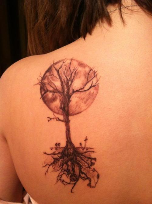 treeHarvest Moon, Tattoo Ideas, Moon Tattoo, Trees Of Life, Trees Tattoo, Body Art, Back Tattoo, A Tattoo, The Roots