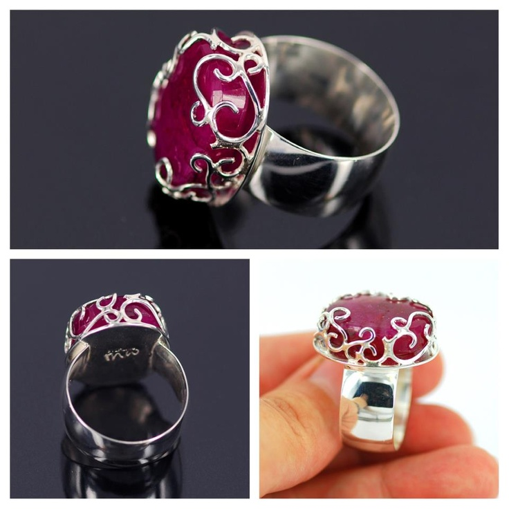 This filigree ruby ring is entirely hand created, each little curl individually formed and soldered together.