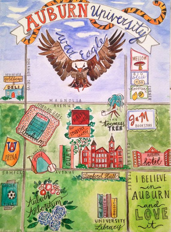 Auburn University Watercolor Map by LittleBirdeeStudios on Etsy