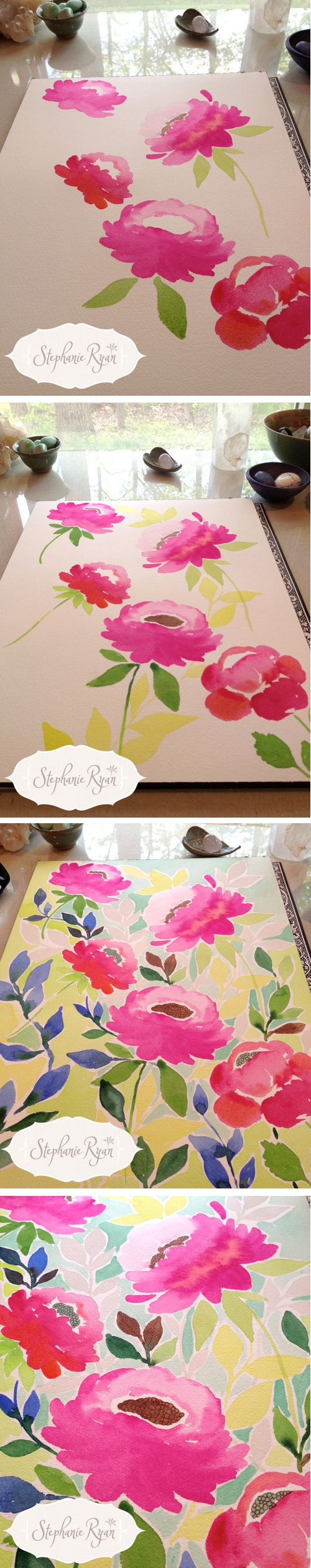 I like to take pictures of my art while I paint to share my process. Stephanie Ryan