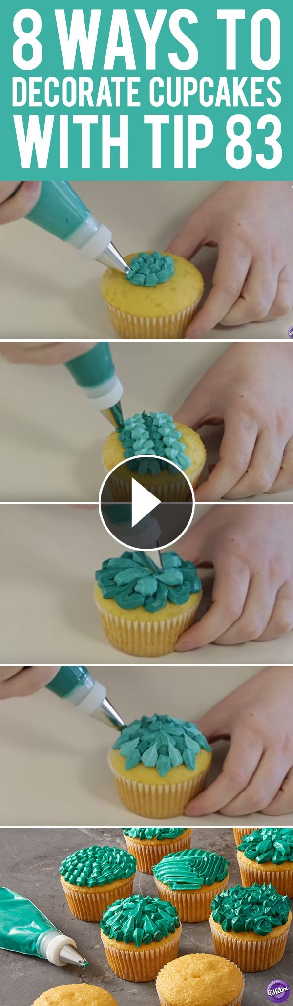 """Learn how to decorate cupcakes using the Wilton specialty piping tip 83. Commonly used to pipe little """"X"""" shapes, this decorating tip can also be used to pipe everything from shells to zig-zags. Up your cupcake decorating game with these eight fun and clever ways to use decorating tip 83!"""