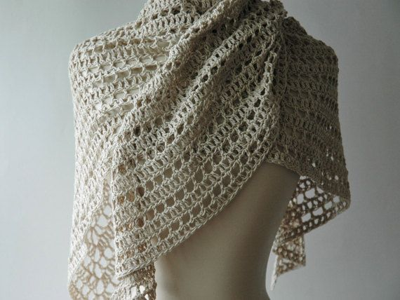 Cotton crochet shawl natural colour summer wrap  by KororaCrafters