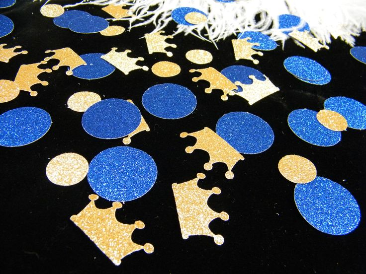Royal Prince Baby Shower Decoration / Crown Confetti Gold U0026 Royal Blue  Glitter/ Boy First