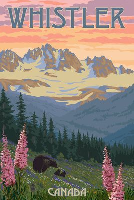 Bear Family & Spring Flowers - Whistler, Canada - Lantern Press Poster