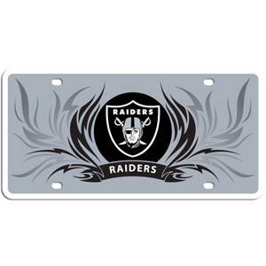 nice NFL Oakland Raiders Styrene Flame License Plate