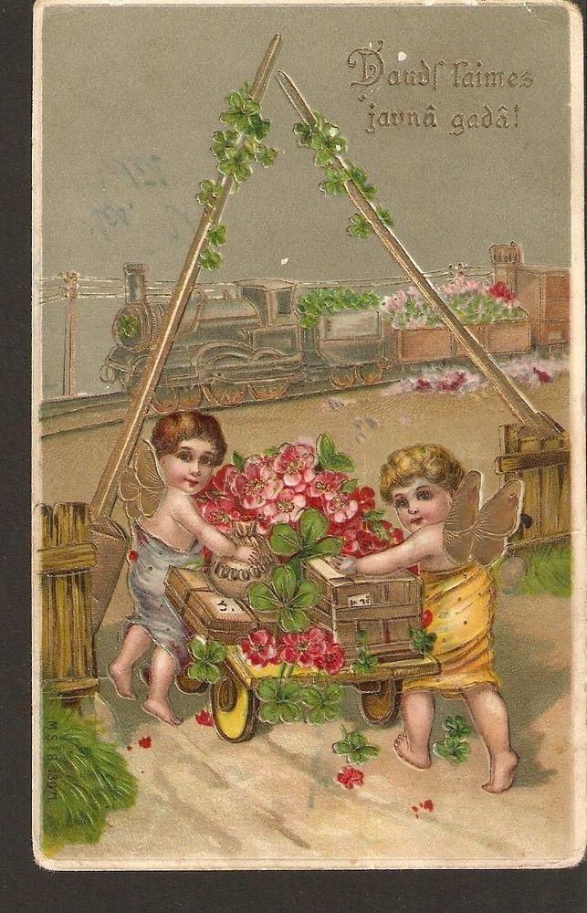 carte postale Lettonie Bonne année Ange angel trèfle train