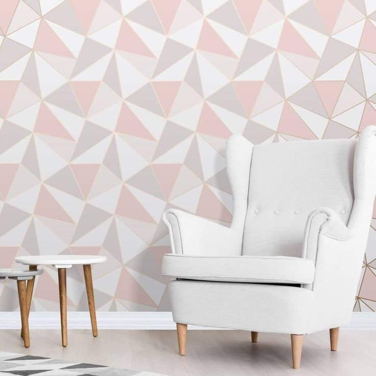 Apex Pink and Rose Gold Geometric Wallpaper