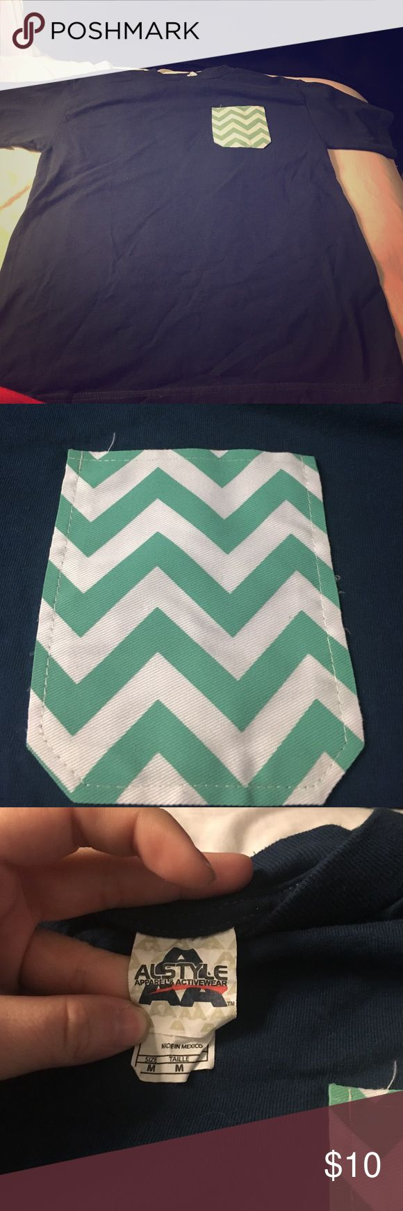 Chevron pocket tee Never worn. Short sleeve. Great for monogramming! Tops Tees - Short Sleeve