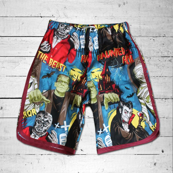 A personal favourite from my Etsy shop https://www.etsy.com/au/listing/285489087/monster-print-boy-racer-shorts