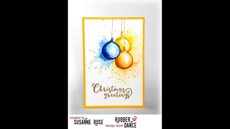 """Watercolour Xmas stamps from Rubber Dance, quick tutorial using watercolours for """"ink"""" when you stamp."""