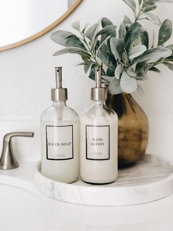 Clear Glass Soap Dispensers Set Two Bottles Etsy In 2020