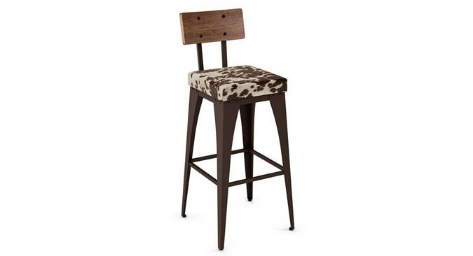 amisco upright industrial looking barstool with faux cowhide seat cover tabouret de style. Black Bedroom Furniture Sets. Home Design Ideas