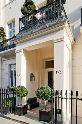 CHESTER SQUARE BELGRAVIA SW1: Modify to single storey. Move house numbers to front gate. Keep round topiaries and wrought iron gate to seperate driveway from front entrance.