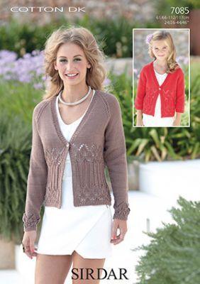 Sirdar Cotton DK Knitting Pattern - 7085 Cardigans Knitting Pattern