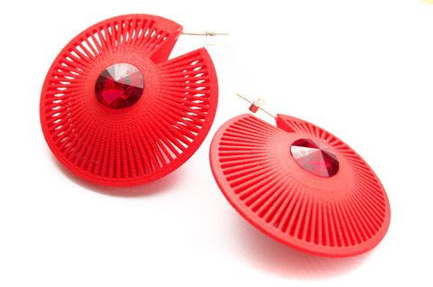 Lynne MacLachlan - 3D printed Red Phase Round Earrings