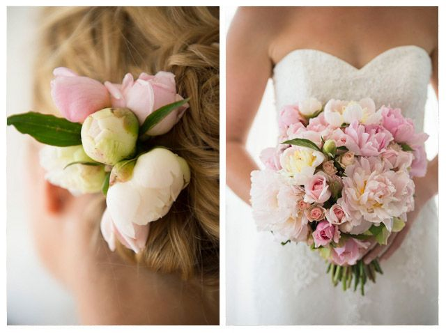 Jo and Pete. Hair comb and bouquet in pale pinks and whites. Peonies, roses, kalmia... Spring. Flowers by Petal & Sprout.