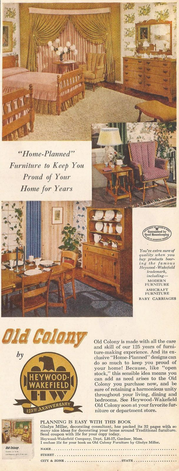 Old Colony By Heywood Wakefield Furniture Ad From Ladies Home Journal,  November 1951