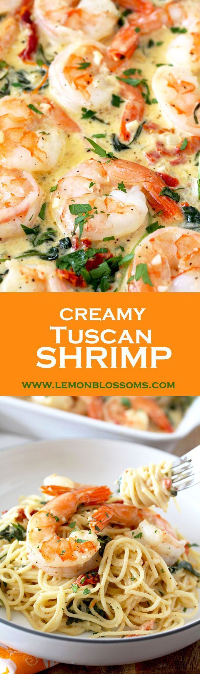 This Creamy Tuscan Shrimp is loaded with flavor! Succulent shrimp in creamy and rich garlic Parmesan sauce with sun dried tomatoes and spinach. The perfect dish to impress your guests. #Tuscanshrimp #shrimp #Parmesan #pasta #easy