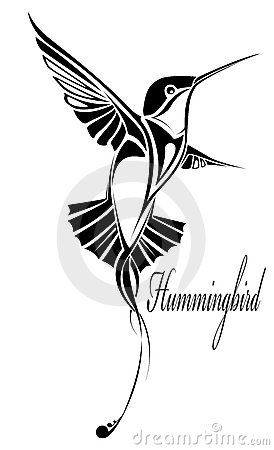 The vector image of the humming-bird is black - white in the form of a tattoo from separate fragments