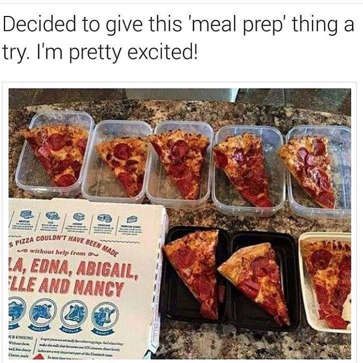 Meal prep with pizza slices humor