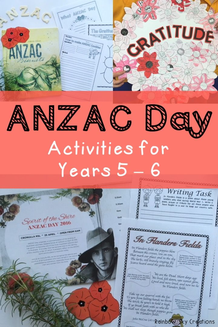 Check out these ANZAC day activities for primary students. They include poppies to wear / create a class wreath, writing tasks, In Flanders Fields poem study, maths activities and more. Worksheets are designed for kids to learn about the meaning of anzac day and the soldiers and heroes that attended world wars for Australia. Suitable for students in Grade 5 and Grade 6 {homeschool} Click the link to see full list of inclusions #rainbowskycreations