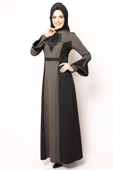 Sırt Düğmeli Tesettür Elbise Haki Siyah NB 2428