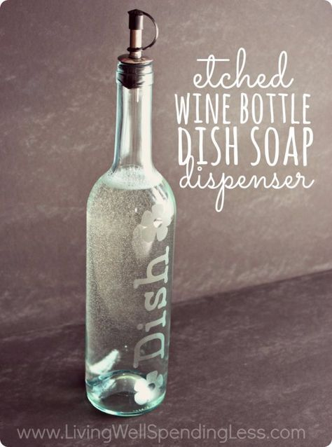 "Wine Bottle DIY Crafts - DIY Etched Wine Bottle Dish Soap Dispenser - Projects for Lights, Decoration, Gift Ideas, Wedding, Christmas. Easy Cut Glass Ideas for Home Decor on Pinterest <a href=""http://diyjoy.com/wine-bottle-crafts"" rel=""nofollow"" target=""_blank"">diyjoy.com/...</a>"