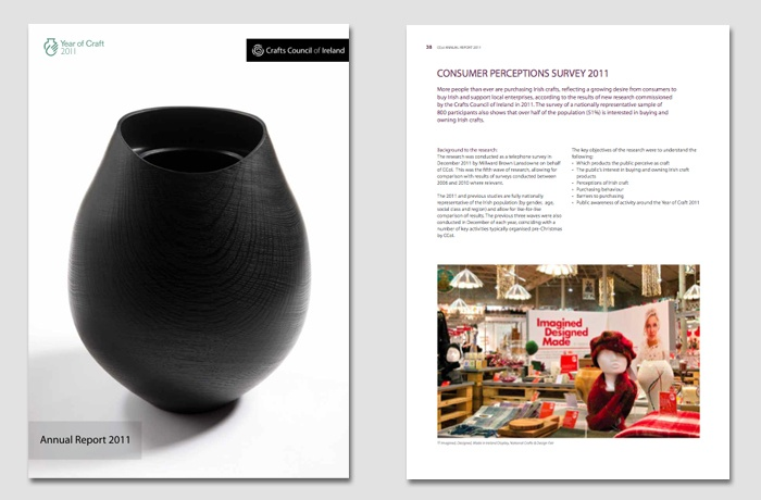 Annual Report design for the Crafts Council of Ireland
