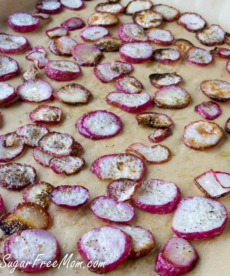 <em> Roasted Salt & Pepper Radish Chips are a wonderful low carb side dish or snack! </em>   Have I ever told you I hate radishes? Always have. Problem is, hubby loves them. Maybe the hate part is a bit aggressive, but I have never liked them and I have tried.   Kind of funny then to share a recipe about roasted radishes right? Not really. Gotta please my hubby who loves them. But I will let you in on a li...