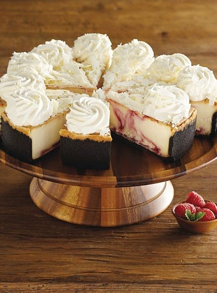 Flavorful White Chocolate Raspberry Truffle Cheesecake from @ccfactory The Cheesecake Factory that can only be purchased online from Harry & David.