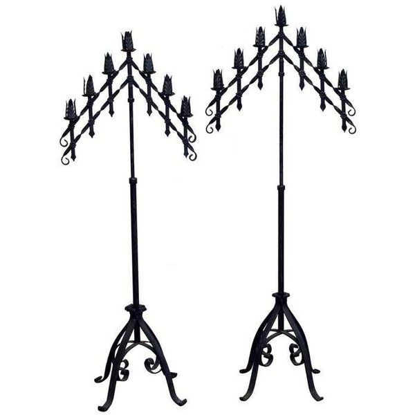 Black Gothic Candelabra Set - a Pair (5.365 DKK) ❤ liked on Polyvore featuring home, home decor, candles & candleholders, candle holders, iron candelabra, black candle holders, black iron candelabra, black candelabra and iron home decor