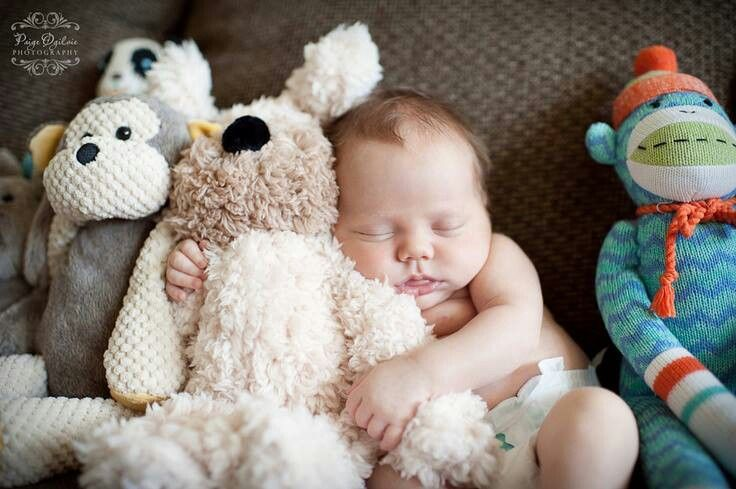 Precious photo of baby with stuffed animals