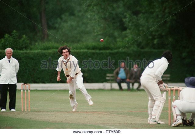 Thornaby (batting) V Middlesbrough, in the Macmillan Cup Final. Pictured, Jamie Stewart for Middlesbrough. 8th July 1993. - Stock Image