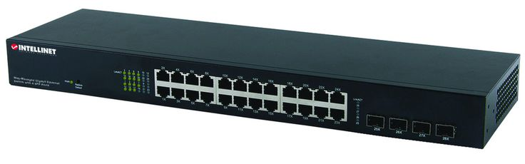 Intellinet24 Port Gigabit Switch Managed Twentyfour 10/100/1000 Mbps Autosensing Ports Automatically Detect Optimal Network Speeds Four Small Formfactor Pluggable Gbic Module Slots (sfp) All Rj45 Ports With Automdix And Nway Autonegotiation Support Complies With The Ieee 802.3az (energy Efficient Ethernet Eee) Specification Web Or Telnetbased Configuration Snmp Management And Remote Monitoring (rmon) Snmp V1 V2 With Rmon Groups 1 2 3 & 9 Supports Vlan (tagbased And Portbased) 802.1x…