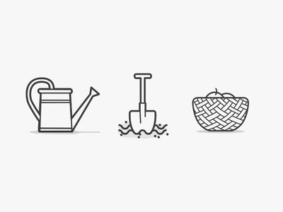 Ground Icons - Garden, tools, instruments, icon, illustration, vector, flat, basket, shovel, terrain,  watering, can,  иконки,  园林工具图标, Iconos, herramientas, jardín, outils, icônes, садовые, инструменты, иконки by Vincenzo Castro