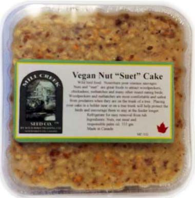 """MC-VG Vegan Peanut Cake. Ideal for customers who prefer to feed with non-animal based foods.  Made in Newmarket, Ont. 333 grams. Approximately size is 4½"""" x 5"""""""