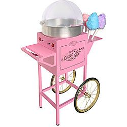 @Overstock - Vintage cotton candy maker resembles those from 1900s carnivals and circuses  Display this cotton candy cart with pride and enjoy some good old fashioned fun  Cotton candy cart is full size and stands over 4 feet tallhttp://www.overstock.com/Home-Garden/Nostalgia-Electrics-CCM-600-Vintage-Cotton-Candy-Machine/3421359/product.html?CID=214117 $379.95