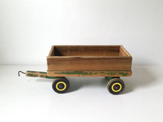 Vintage Wooden Toy Train . Antique Toy Train Car . Large Wood
